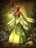 A fairy in a beautiful dress hovers over the magical forest on gossamer wings. poster