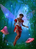 A flying fairy tries to capture a glow fly in the magical forest. poster