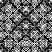 White openwork lace seamless pattern on black dackground poster