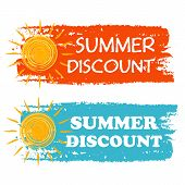 summer discount banners - text in orange and blue drawn labels with yellow sun symbol business seasonal shopping concept poster