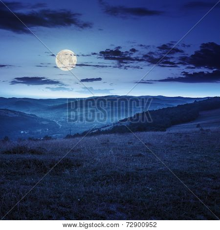 Field In Mountain Near Home At Night