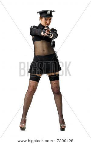 policewoman aiming a gun
