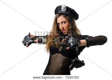 policewoman with handcuffs