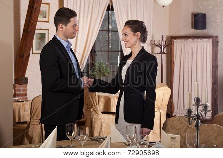 Young Woman Shaking Hands