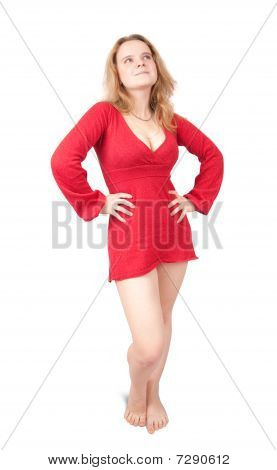 Standing Girl In Red Short Dress