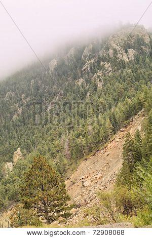 Landslide Under Fog