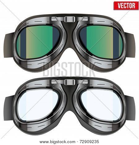 Retro aviator pilot glasses goggles. Isolated on white