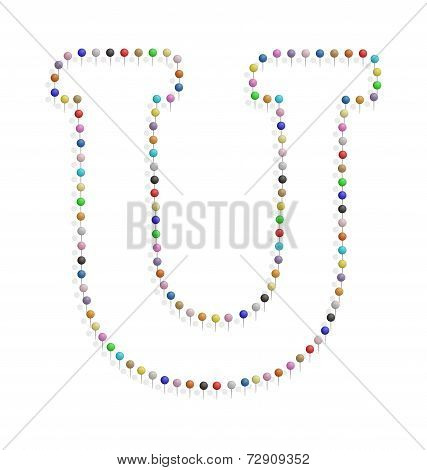 Letter U With Pushpin
