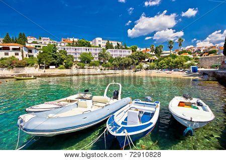 Island of Hvar turquoise beach in town Dalmatia Croatia poster