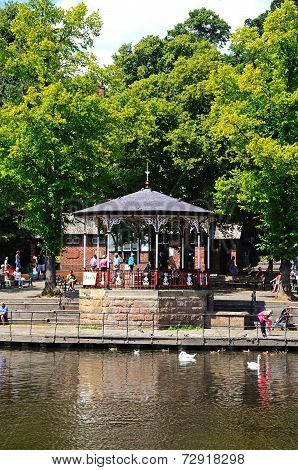 Bandstand on riverbank, Chester.