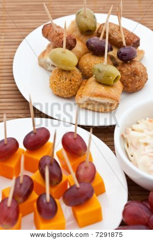 Party Snacks. Mini Sausage Rolls, Olives & Scotch Eggs