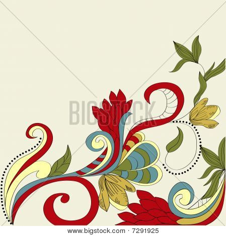 Card with floral ornament