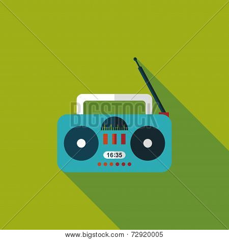 Radio Flat Icon With Long Shadow