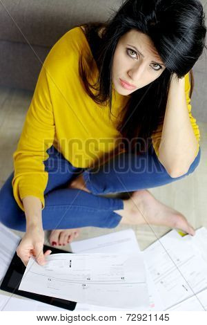 Woman Struggling With Bills