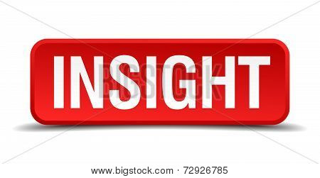 Insight Red 3D Square Button On White Background