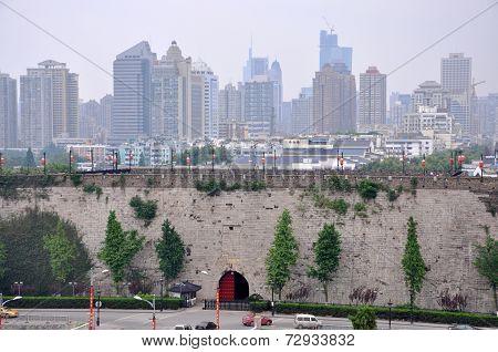 Zhonghua Gate and Nanjing City Skyline, China