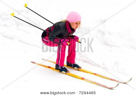 Young Woman On Ski