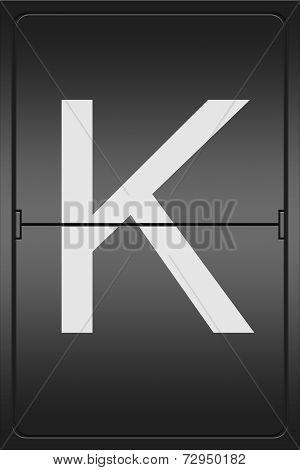 Letter K On A Mechanical Leter Indicator