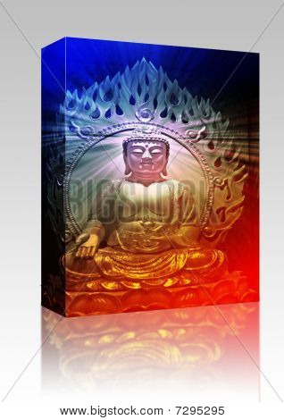 Software package box Buddha religious illustration with glowing light halo poster
