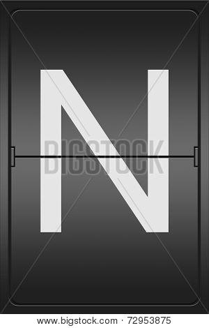Letter N On A Mechanical Leter Indicator