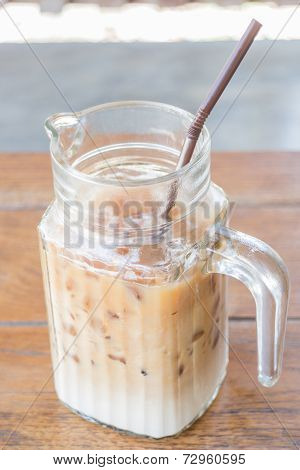 Iced Coffee Latte In Glass Pitcher Up Close