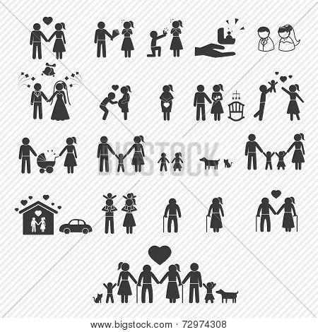 family icons set. illustration eps10