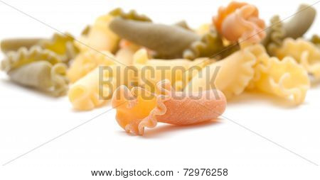 Campanelle pasta tricolor naturally tinted with tomato and spinach also called gigli or riccioli poster