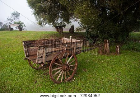 Old Wooden Chariot In Countryside Of Misiones, Argentina
