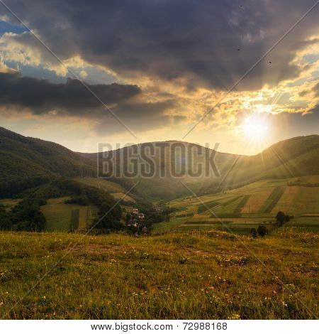 Field Near Home In Mountains At Sunset