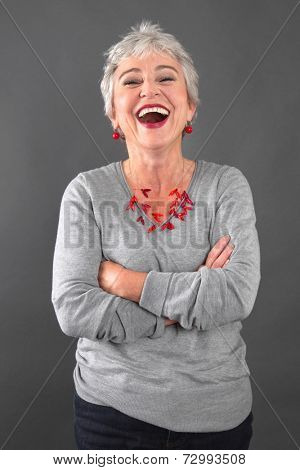 Portrait of happy senior woman laughing
