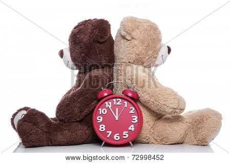 Teddy bears back to back: time to change - problems in partnership - man and woman isolated