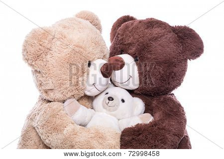 Happy family - mother, father and baby - concept with teddy bears isolated