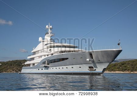 Rich - side view of luxury yacht on the Mediterranean Sea