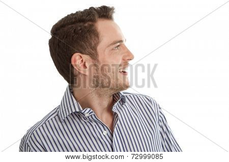 Hearing - Young man in blue shirt looking sideways isolated on white background