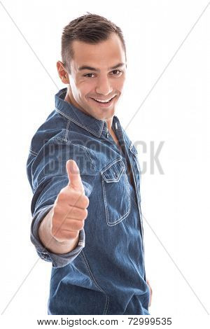 Young laid back man giving thumbs up to camera in blue denim shirt isolated on white background
