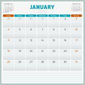 Calendar planner 2015 template week starts Sunday poster