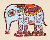 tribal elephant ice skating, ornamental marker drawing, vector illustration poster
