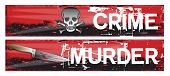 Two horizontal crime themed banners set on a bloody red grunge styled background base. Crime and murder. poster