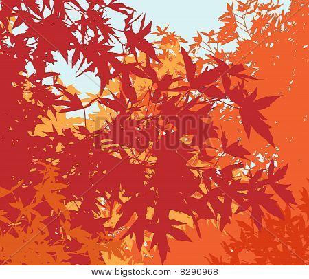 Colorful landscape of autumn foliage - Vector illustration