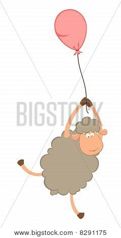 cartoon sheep flies on a balloon on a background for a design poster
