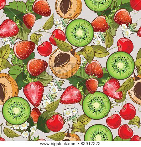 Seamless summer fruits pattern
