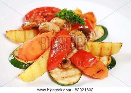 Grilled Vegetable And Mushrooms
