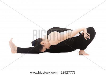 Yogi Female In Yoga Asana Janu Sirsasana