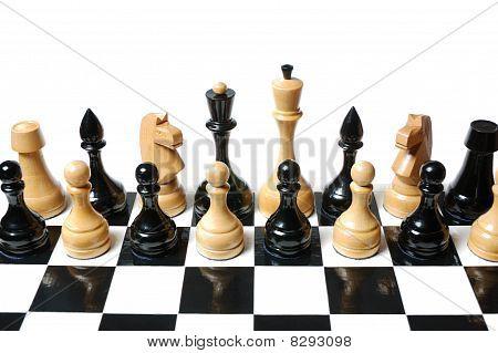 Chess: black & white figures mix