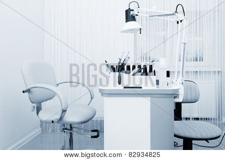 beautiful manicure room in a modern beauty salon