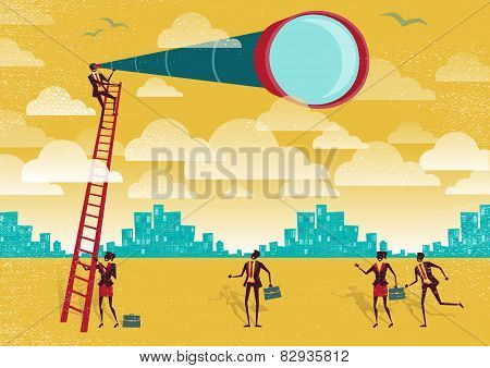 Businessman Uses A Telescope To Gain An Advantage.