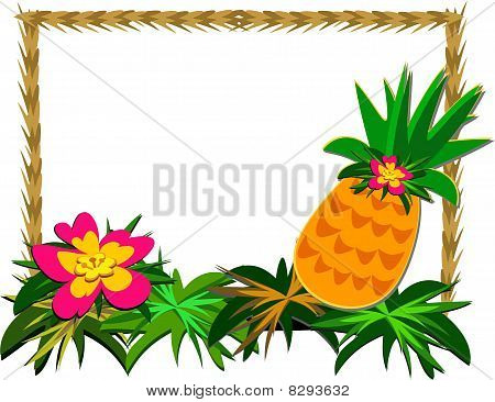 Frame of Tropical Pineapple and Flower