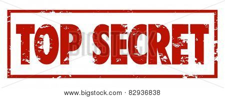 Top Secret words in red grungy stamped letters to mark protected, private information that is confidential or classified