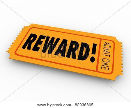 Reward word on a raffle or contest ticket for you to claim your award, prize or jackpot winnings in a drawing poster
