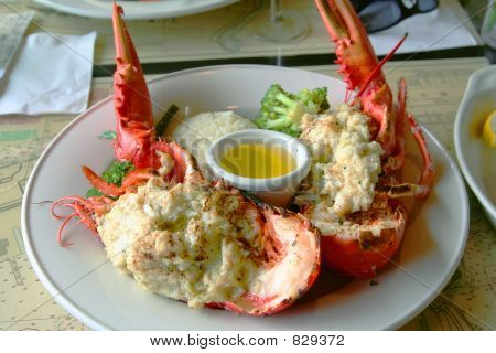 stuffed lobster plate with butter poster